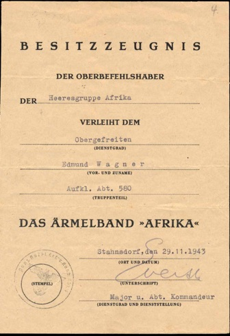 WW2 German Document Afrika Cufftitle Aufklärungskampagne Abteilung 580 Tobruk El Alamein Everth