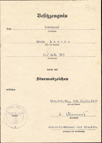 Ww2 German General Assault Badge  Document Artillerie Regiment 293 Allgemeine Sturmabzeichen