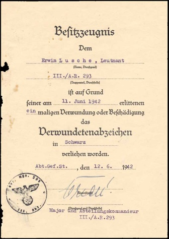 Ww2 German Black Wound Badge Verwundetenabzeichen Document Artillerie Regiment 293