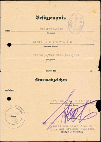 Ww2 German General Assault Badge Document Allgemeine Sturmabzeichen Machine Gun Ski Brigade Finnland