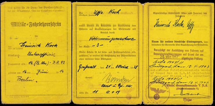 WW2 German Driving Instructor's License Militaer Fahrleherschein
