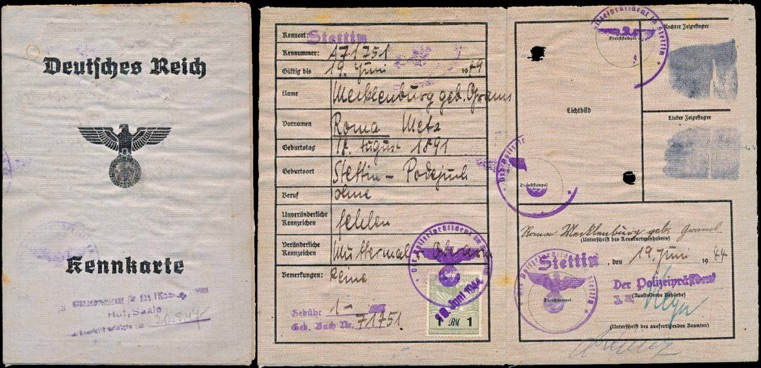 WW2 German Kennkarte ID Ausweis Stettin