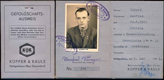 WW2 German ID Card Kipper Kauls Essen forced labor military aviation parts