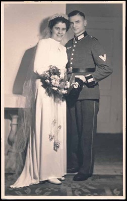 Original period WW2 German Photo Army wedding parade dress