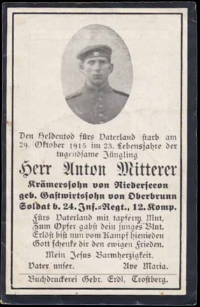 WW1 German Death Card Sterbebild La Folie France 1915