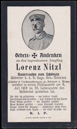 WW1 German Death Card Sterbebild Military Service Cross Wavrin 1916