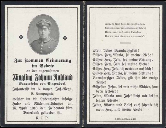 WW1 German Death Card Sterbebild Bavarian shot throat spinal cord 1918