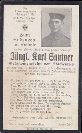 WW1 German Death Card Sterbebild Champagne 1916