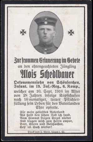 WW1 German Death Card Sterbebild shot in head Ville devant Chaumont 1916