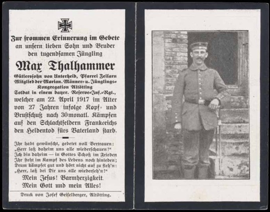 WW1 German Death Card Sterbebild Bavarian shot head chest 1917 Frace