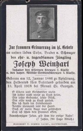 WW1 German Death Card Sterbebild Mesnil St Georges Iron Cross Bavarian Military Cross