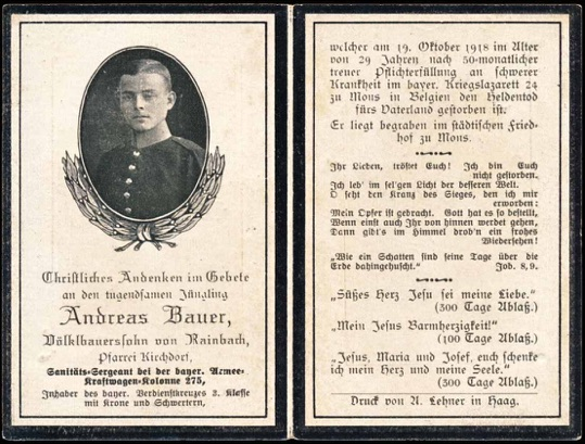 WW1 German Death Card Sterbebild Sanitäts Sergeant Mons Belgium