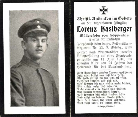 WW1 German Death Card Sterbebild Bavarian Field Artillery Vermandovillers