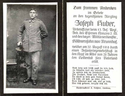 WW1 German Death Card Sterbebild Army Unteroffizier Iron Cross
