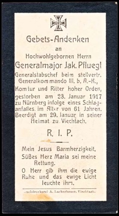 WW1 German Death Card Sterbebild Generalmajor Jakob Pfluegl
