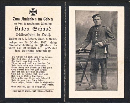WW1 German Death Card Sterbebild Buried mortar impact Flanders 1917