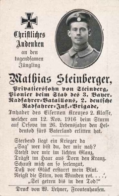 WW1 German Death Card Sterbebild Radfahrer Bicyclist Batallion Orsova 1916