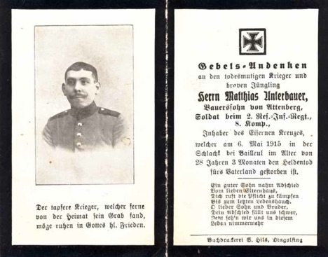 WW1 German Death Card Sterbebild Bailleul 1915