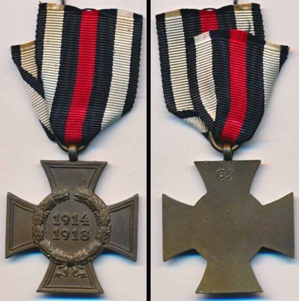 WW1 German Hindenburg Cross without Swords for Non Combatants, Ehrenkreuz für Kriegsteilnehmer. G2