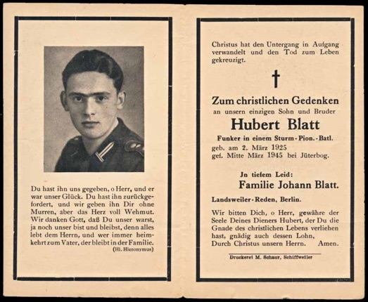 WW2 German Death Card Sterbebild Assault Engineer Jueterbourg Germany 1945