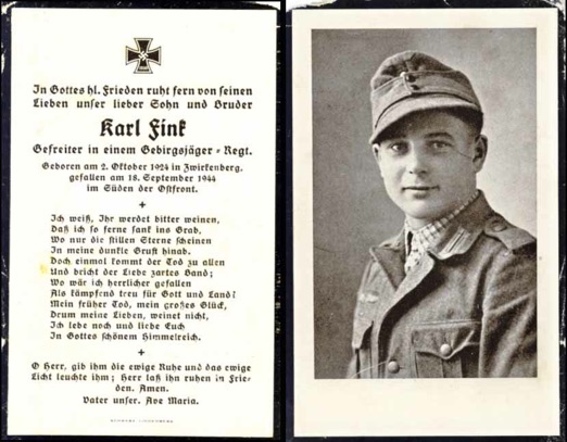 WW2 German Death Card Sterbebild Gebirgsjaeger Romania