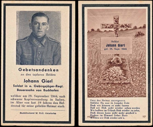 WW2 German Death Card Sterbebild Gebirgsjaeger Italy 1944