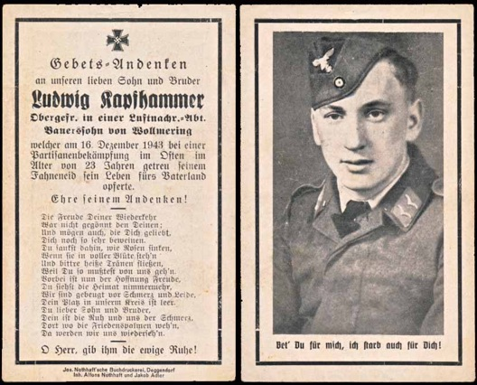 WW2 German Death Card Sterbebild Luftwaffe Killed by Partisans 1943