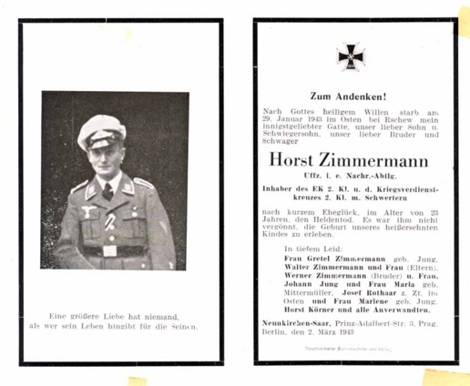 WW2 German Death Card Sterbebild Luftwaffe Communications