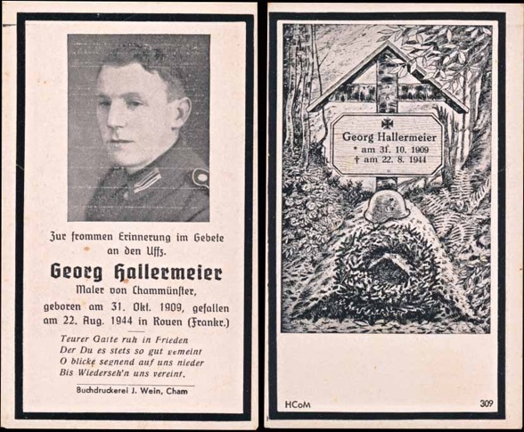 WW2 German Death Card Sterbebild Killed Rouen France August 1944