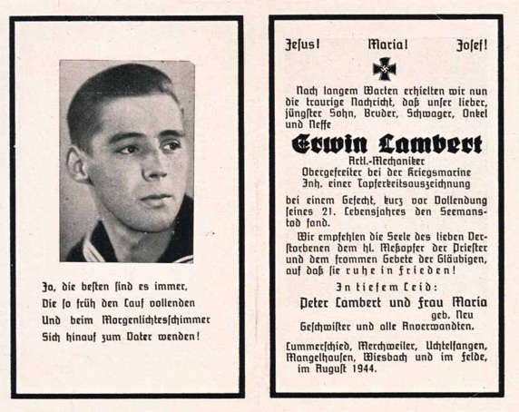 WW2 German Death Card Sterbebild Kriegsmarine Z27 T26 Battle of the Bay of Biscay 1943