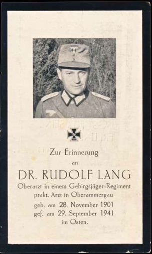 WW2 German Death Card Sterbebild Gebirgsjaeger Doctor  Ukraine