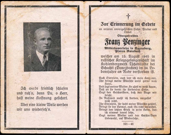 WW2 German Death Card Sterbebild Russian POW Camp 182 Schachty Coal Mine 1945