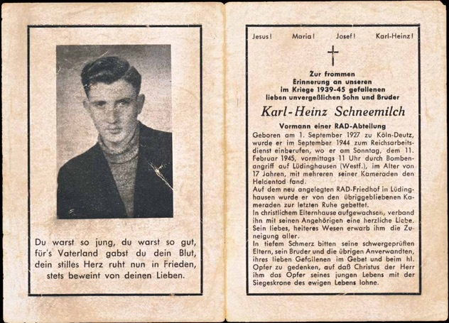 WW2 German Death Card Sterbebild Reichsarbeitsdienst Vormann Aerial Assault Luedinghausen 1945