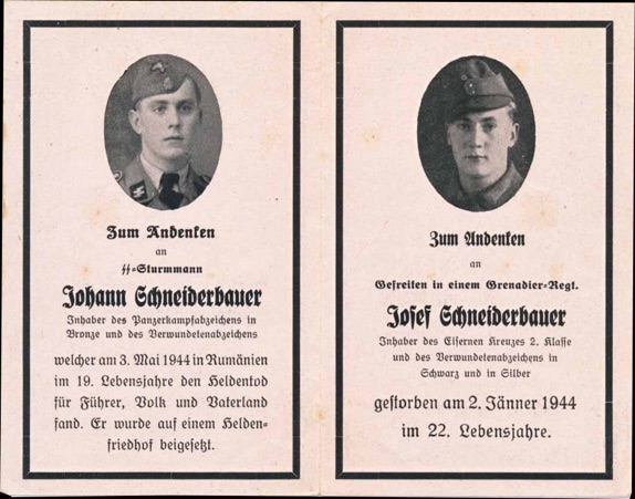 WW2 German Death Card Sterbebild Brothers SS Panzer Division Totenkopf Roamnia May 1944
