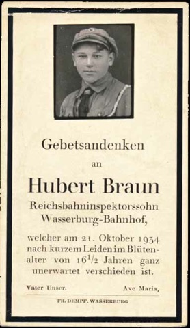 WW2 German Death Card Sterbebild HJ Hitler Youth Real Photo Glued On