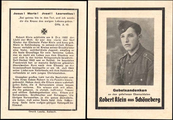 WW2 German Death Card Sterbebild Invasion Front France 1944