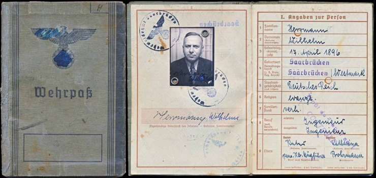 WW2 German Wehrpass Pay Book ID Herrmann