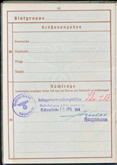 WW2 German Wehrpass Pay Book ID